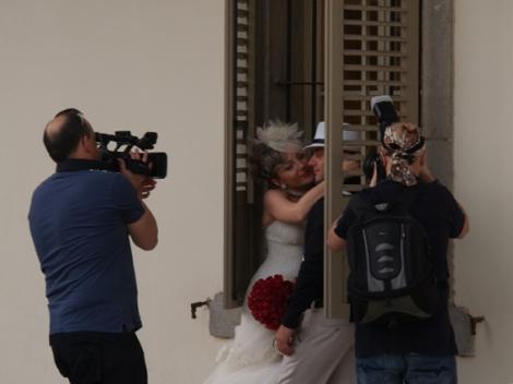wedding at old railway station